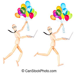 businessman holding flying balloons and laptop