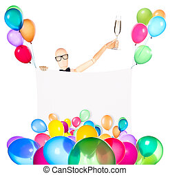 businessman with banner, balloons and champagne