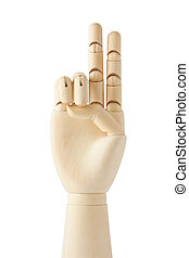 wooden dummy hand with two fingers up