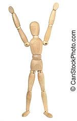 Wooden Dummy Hands Up