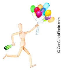 wooden Dummy holding flying balloons and champagne