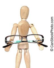Wooden dummy holding glasses