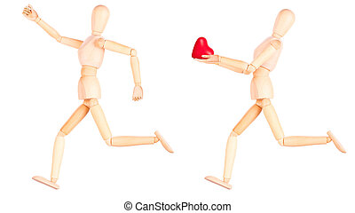 wooden Dummy holding red heart