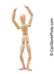 Wooden dummy in a ballet pose