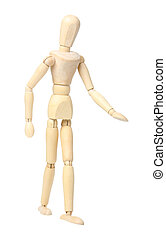 Wooden dummy isolated on a white