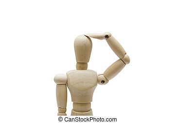 Wooden dummy isolated on a white background