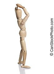 Wooden dummy isolated on white background