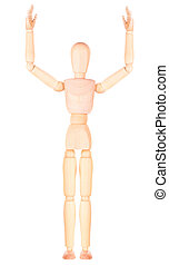 wooden Dummy raising his hand to give an answer
