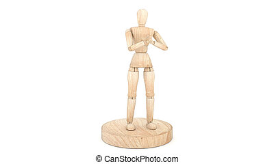 Wooden dummy sick isolated on white background