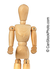 Wooden dummy that brings something with his hands forward