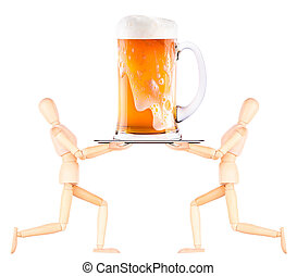 wooden Dummy waiter with beer on tray