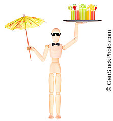 wooden Dummy waiter with cocktail on tray
