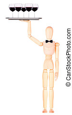 wooden Dummy waiter with wine on tray