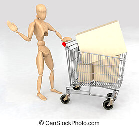 dummy with a shopping cart