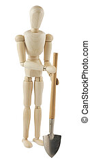 Wooden dummy with a shovel