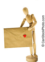 Wooden dummy with an envelope