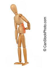 Wooden dummy with back pain