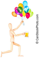 wooden Dummy with beer and balloons
