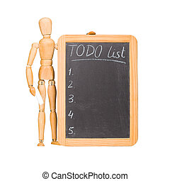 Wooden dummy with chalkboard todo list isolated on white.