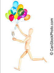 wooden Dummy with champagne holding balloons