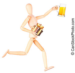 wooden Dummy with glass of beer and gift
