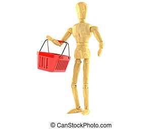 Wooden dummy with shopping basket