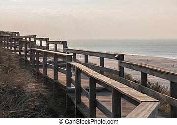 Wooden dune walkway