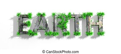 Wooden Earth word with green grass growth isolated