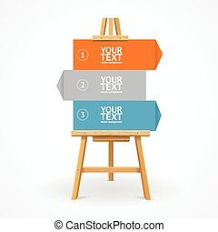 Wooden easel option banner. Vector