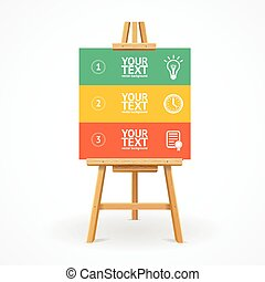 Wooden easel option banner or your content. Vector illustration