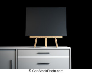 Wooden easel with black blank frame. 3d rendering