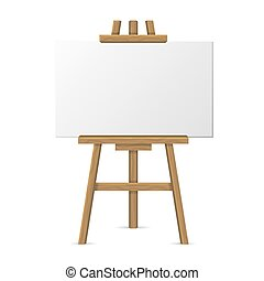 Wooden Easel with Blank Canvas on White Background. Vector...
