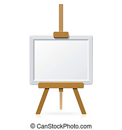 Vector illustration of a wooden easel with blank canvas.