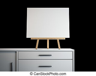 Wooden easel with blank frame. 3d rendering