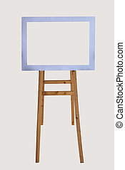 wooden easel with blank frame isolated on white background