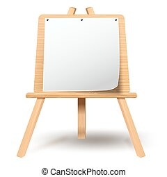 Wooden easel with blank paper canvas