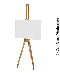 wooden easel with blank picture canvas isolated on white