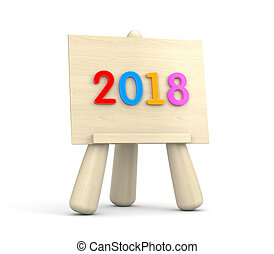 Wooden easel with colored digit - 2018. 3d illustration