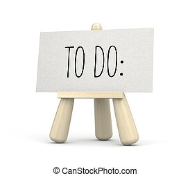 Wooden easel with sheet of paper with words - TO DO. 3d illustration