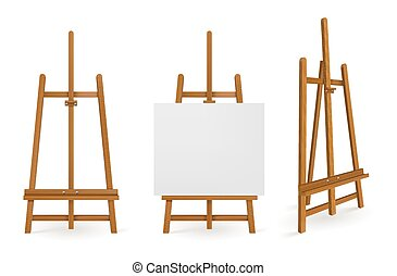 Wooden easels or painting art boards with white canvas front and side view. Artwork blank posters mockup. Wood stands empty and with paper, artist equipment, Realistic 3d vector illustration, set