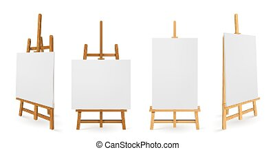 Wooden easels or painting art boards with white canvas front and side view. Artwork blank posters mockup. Wood stands with paper or cloth, artist equipment, Realistic 3d vector illustration, templates