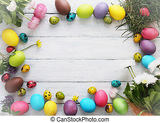 Wooden Easter background. Top view