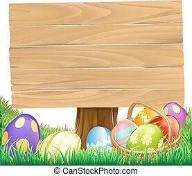 Wooden Easter Egg Sign