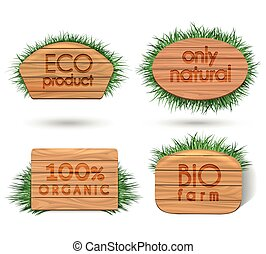 Wooden eco food signs with grass