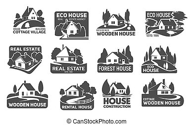 Wooden eco houses, real estate buildings icons