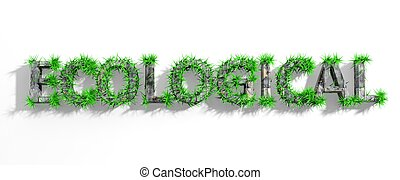 Wooden Ecological word with green grass growth isolated