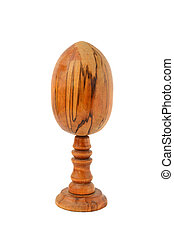 wooden egg on a white background
