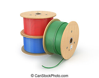 Wooden electric cable reels isolated white background. 3D...