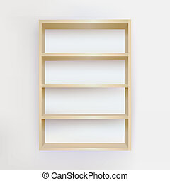 Empty Bookshelf - Wooden Empty Bookshelf, Vector...