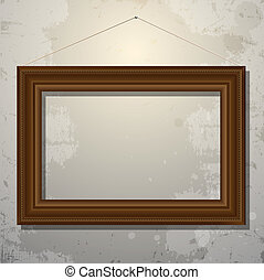 Wooden empty frame of picture on old wall. Vector eps10